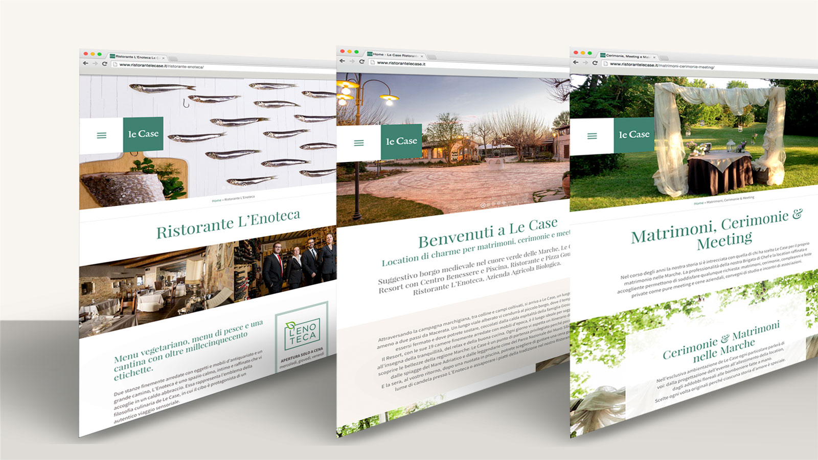 Web Design e Web Marketing turistico per il Ristorante Resort Le Case - Memphiscom, Tolentino